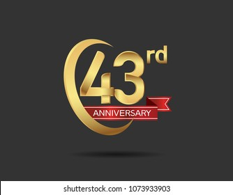43rd anniversary design logotype golden color with swoosh ring and red ribbon for celebration isolated on dark background