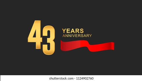 43rd anniversary design logotype golden color with red ribbon elegant design for anniversary celebration