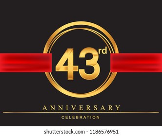 43rd anniversary design logotype golden color with ring and red ribbon for anniversary celebration, elegant design.