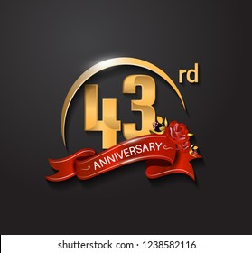 43rd anniversary design logotype with golden swoosh, red ribbon and red rose. Vector template for use in celebration company event, greeting card, and invitation card