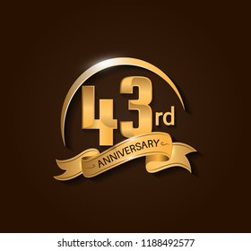43rd Anniversary design logotype. Anniversary logo design with swoosh and elegance golden ribbon. Vector template for use celebration, invitation card, and greeting card