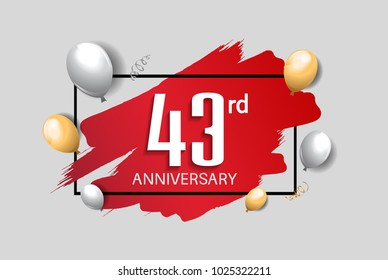 43rd anniversary design with red brush, balloons, and square isolated on white background for celebration