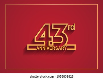 43rd anniversary design with simple line style golden color isolated on red background for celebration event