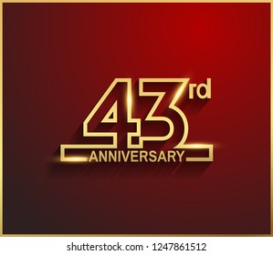 43rd anniversary line style golden color for celebration