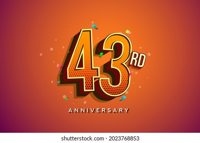 43rd Anniversary Logo Design With Colorful Confetti, Birthday Greeting card with Colorful design elements for banner and invitation card of anniversary celebration.