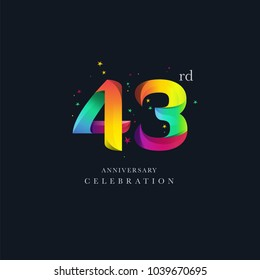 43rd Anniversary Logo Design, Number 43 Icon Vector Template.