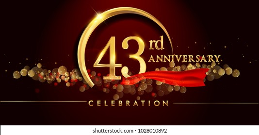 43rd anniversary logo with golden ring, confetti and red ribbon isolated on elegant black background, sparkle, vector design for greeting card and invitation card