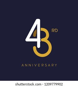43rd anniversary logo.overlapping number with simple monogram color. vector design for greeting card and invitation card.