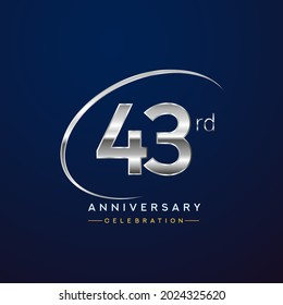 43rd anniversary logotype silver color with swoosh or ring, isolated on blue background for anniversary celebration event.