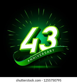 43rd anniversary neon text vector design template. green number neon logo, light banner design element colorful design trend, night bright advertising neon text anniversary event party template