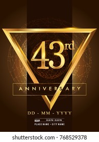 43rd anniversary poster design on golden and elegant background, vector design for anniversary celebration, greeting card and invitation card.