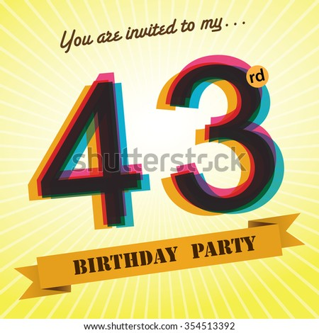 43rd birthday party invite template design stock vector royalty