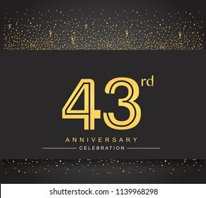 43rd golden anniversary celebration logotype with confetti golden color isolated on black background, vector design for greeting card and invitation card