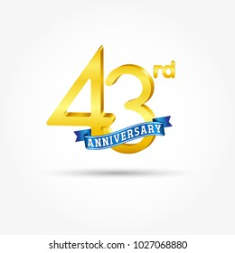 43rd golden Anniversary logo with blue ribbon isolated on white background. 3d gold 43rd Anniversary logo