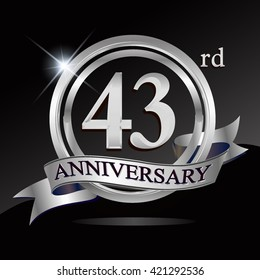 43rd silver anniversary logo with ring and ribbon. Vector design template elements for your birthday celebration.