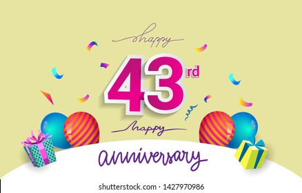 43rd Years Anniversary Celebration Design, with gift box and balloons, ribbon, Colorful Vector template elements for your birthday celebrating party.