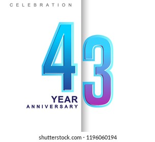 43rd Years Anniversary with colorful design. Applicable for brochure, flyer, Posters, web and Banner Designs, anniversary celebration