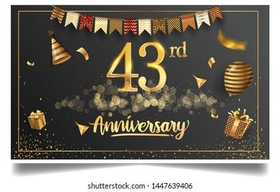 43rd years anniversary design for greeting cards and invitation, with balloon, confetti and gift box, elegant design with gold and dark color, design template for birthday celebration.