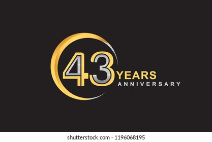 43rd years anniversary golden and silver color with circle ring isolated on black background for anniversary celebration event