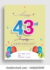43rd Years Anniversary invitation Design, with gift box and balloons, ribbon, Colorful Vector template elements for birthday celebration party.