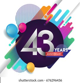 43rd years Anniversary logo with colorful abstract background, vector design template elements for invitation card and poster your birthday celebration.