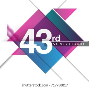 43rd years anniversary logo with geometric, vector design birthday celebration isolated on white background.