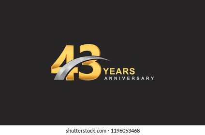 43rd years anniversary logo with golden ring and silver swoosh isolated on black background, for birthday and anniversary celebration.