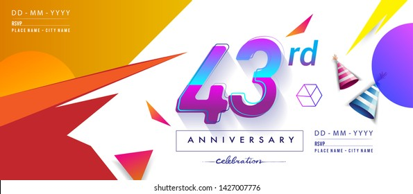 43rd years anniversary logo, vector design birthday celebration with colorful geometric background and circles shape.