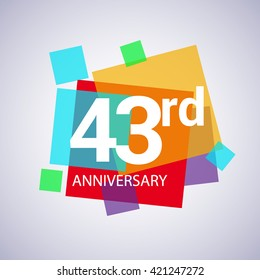 43rd years anniversary logo, vector design birthday celebration with colorful geometric isolated on white background.