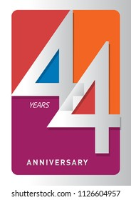 44 years old celebrating modern logo. Colored happy anniversary template numbers. vector design for celebration, invitation card, and greeting card