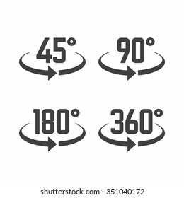 45, 90, 180 and 360 degrees view sign icons. Vector.