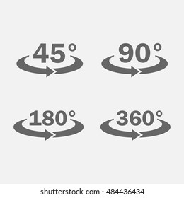 45, 90, 180, 360 degrees view icon vector set isolated from the background. The symbol of the turning or rotation.