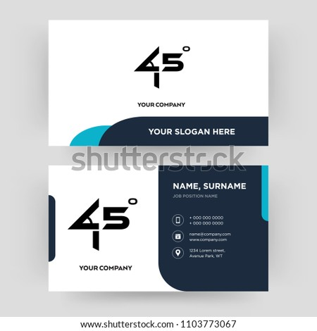 45 degree angle business card design stock vector royalty free