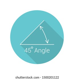 45 degree angle flat icon, isolated icon with angle symbol and text