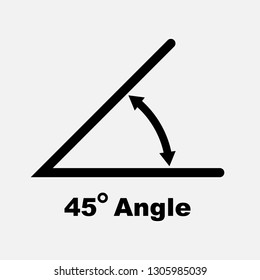 45 degree angle icon, isolated icon with angle symbol and text, vector illustration.