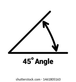 45 degree angle icon, isolated icon with angle symbol and text