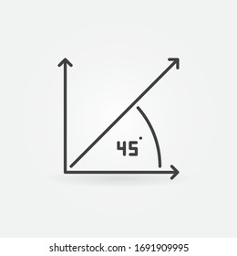 45 Degree Angle outline vector concept icon or logo element