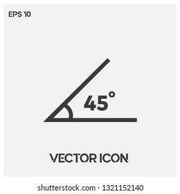 45 degrees angle vector icon illustration for web and mobile app. Line art 45 degrees angle symbol icon. Ui/Ux. Premium quality.