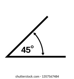 45 Degrees Angle Vector Icon Illustration