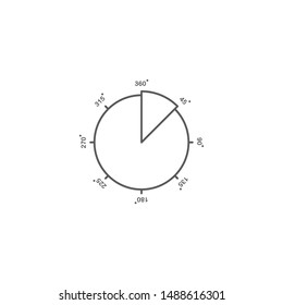 45 Degrees Angle vector icon symbol isolated on white background