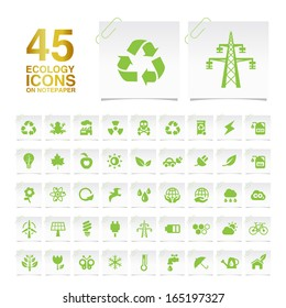 45 Ecology Icons on Notepaper.