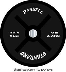45 lb Single Barbell Plate in profile