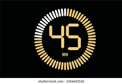 The 45 minutes, stopwatch vector icon, digital timer. clock and watch, timer, countdown symbol