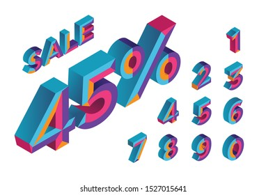 45% sale. 0, 1, 2, 3, 4, 5, 6, 7, 8, 9 isometric 3D numeral alphabet. Percent off, sale background. Colorfull polygonal triangle Letter. Eps10. Vector Isolated Number.