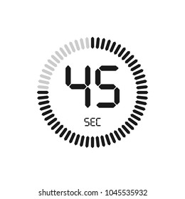 The 45 seconds, stopwatch vector icon, digital timer. Clock and watch, timer, countdown symbol.