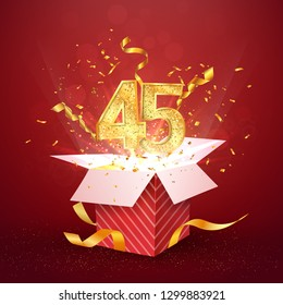 45 th years number anniversary and open gift box with explosions confetti isolated design element. Template forty five birthday celebration on red background vector Illustration.