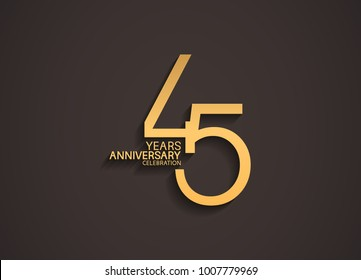 45 years anniversary celebration logotype with elegant gold color for celebration