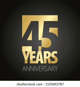 45 Years Anniversary gold black logo icon banner