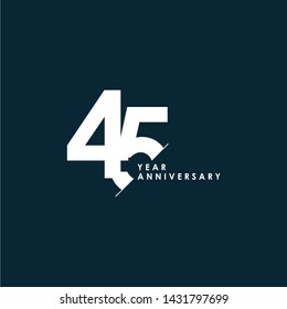 45 Years Anniversary Vector Template Design Illustration