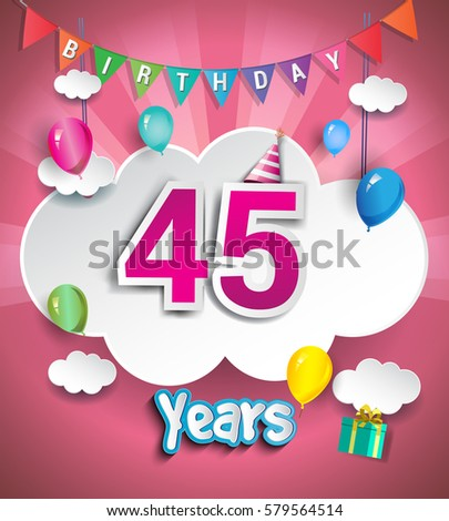 45 Years Birthday Design For Greeting Cards And Poster With Clouds Gift Box